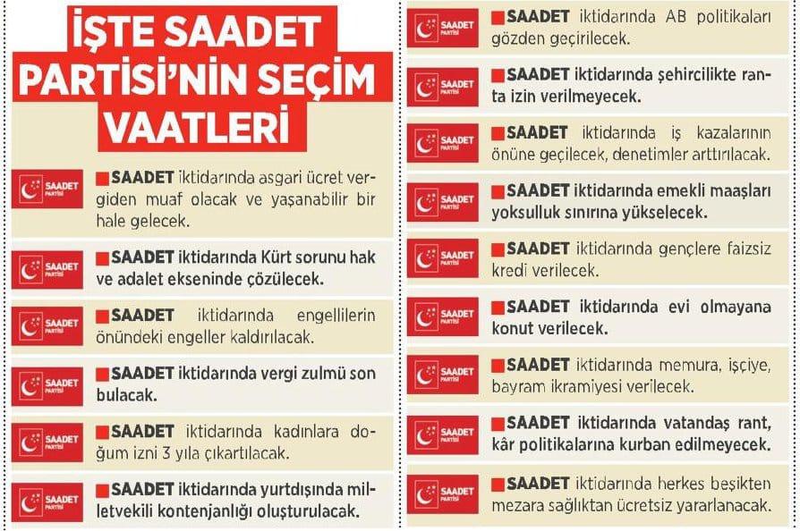 İŞTE SAADET PARTİSİ'NİN SEÇİM VAATLERİ